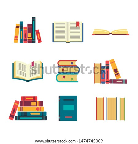 Books set isolated on white background. Books vector.