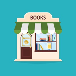 Books shop facade. Vector illustration of books shop building. Ideal for books shop business web publications and graphic design. Flat style vector illustration.