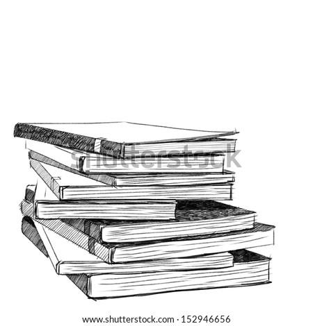 books sketch   vector eps10