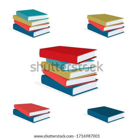Books stack vector illustration set. Pile of books. Hardback books composition. Part of set.