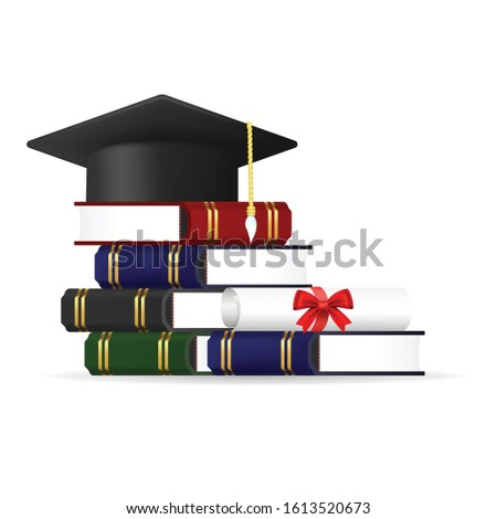 Books stack with educated cap and certificate roll isolated on white background. Education concept.