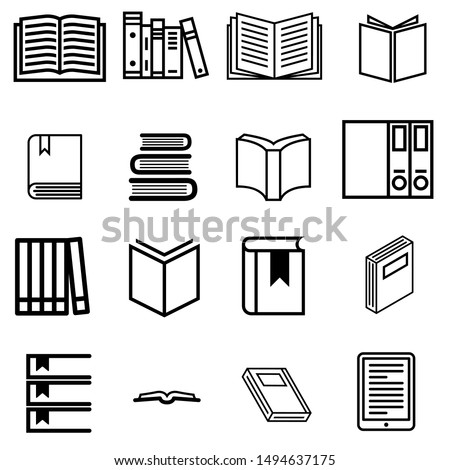 Books vector icons set. Book icon. library illustration simbol collection. Education logo or sign.