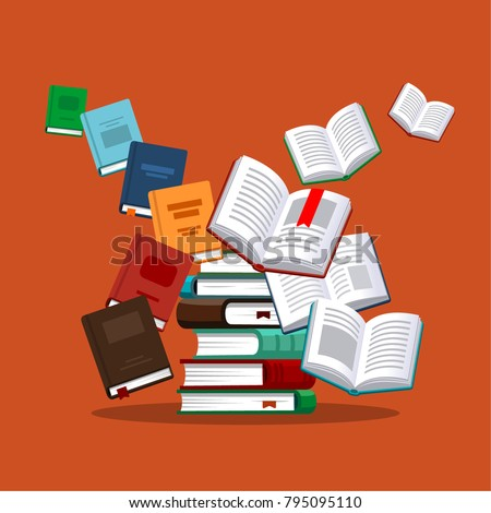 Books. Vector illustration in flat style. Courses and graduation concept.