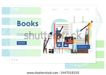 Books vector website template, web page and landing page design for website and mobile site development. Book publishing services concept with characters. Сток-фото ©