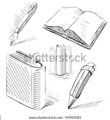 Book Pencil Drawing Books With Pen And Pencil