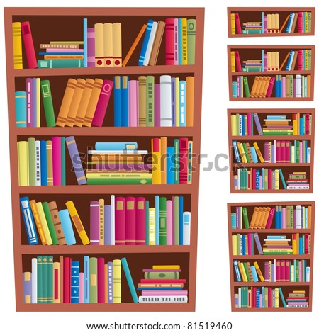 Bookshelf: Cartoon illustration of a bookshelf in 5 different versions.  No transparency used. Basic (linear) gradients used.