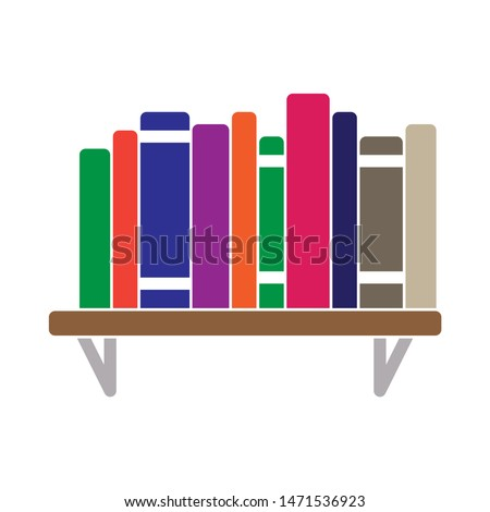 bookshelf  icon. flat illustration of bookshelf - vector icon. bookshelf sign symbol