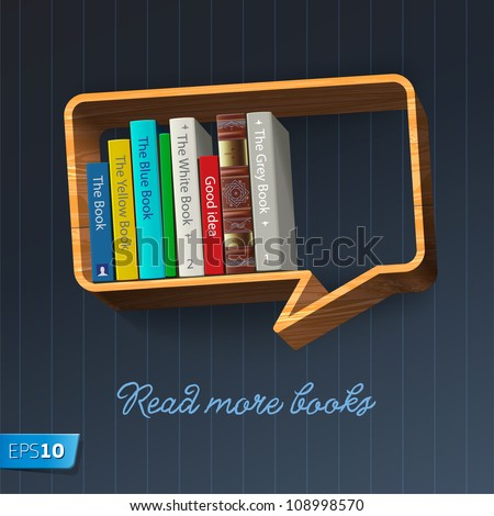 Bookshelf in the form of speech bubble, vector Eps10 illustration.