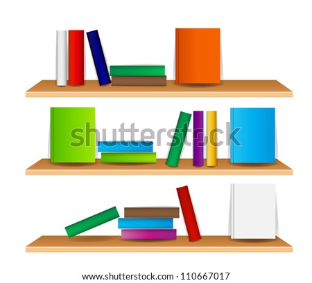 Bookshelf with books vector illustration - stock vector