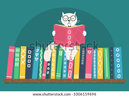 Bookshelf with fantasy clever white cat reading book. Different color books on shelf on teal background. Cat sitting on books. Vector illustration.