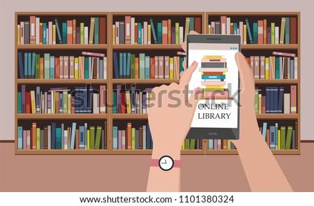 bookshelve with books on phone