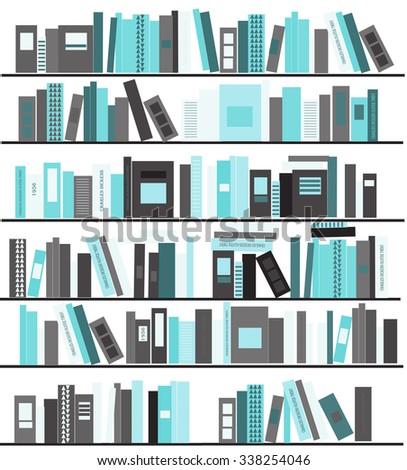 bookshelves with books vector