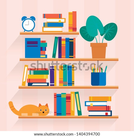 Bookshelves with different books on it, vector illustration