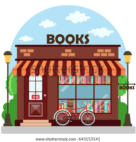 Bookshop (bookstore) building facade. A row of books in the window. Vector illustration