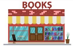 Bookstore in flat style. Vector illustration. Bookstore facade icon.