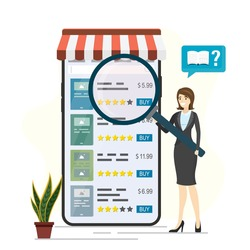 Bookstore on smartphone. Mobile application for buying books. Woman client uses magnifying glass for choose product in online store. Internet marketplace. E-commerce technology. Vector illustration