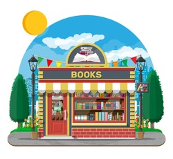 Bookstore shop exterior. Books shop brick building. Education or library market. Books in shop window on shelves. Street shop, mall, market facade. Nature outdoor cityscape. Flat vector illustration