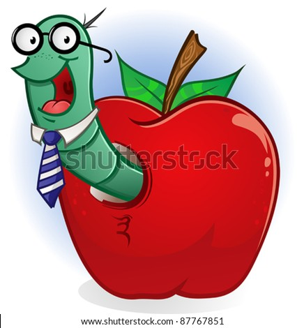 Bookworm Cartoon Character in a Teacher's Apple