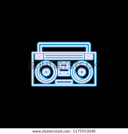 Boom box or radio cassette tape player icon in neon style. One of Life style collection icon can be used for UI, UX on black background