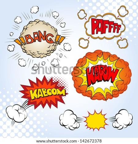 Boom. Comic book explosion set, vector illustration