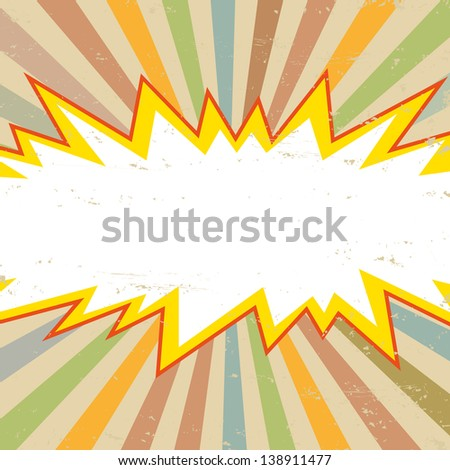 Boom comic book explosion, vector illustration