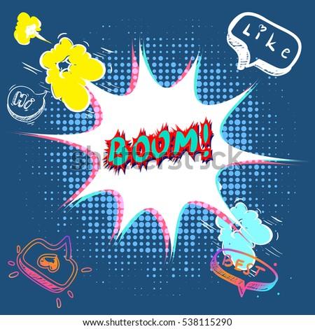 boom comic text  wow pop art
