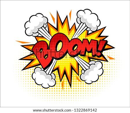 Boom isolated white comic text speech bubble Stockfoto ©