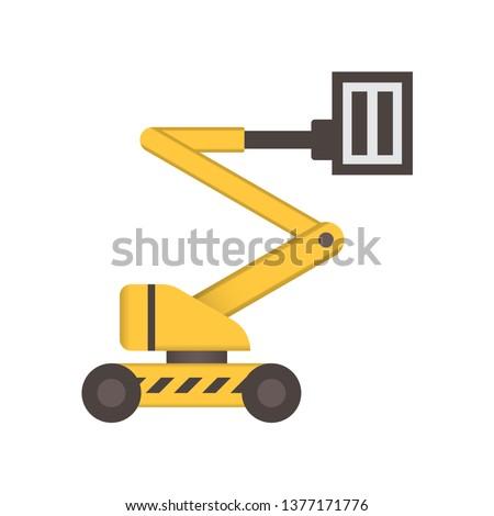 Boom lift or lifting equipment icon design.