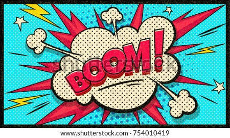 Boom pop art cloud bubble. Funny speech bubble. Trendy Colorful retro vintage background in pop art retro comic style. Illustration easy editable for Your design.