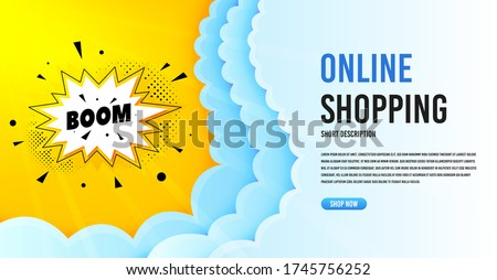Boom sale badge. Clouds banner template. Discount banner shape. Coupon bubble icon. Online shopping banner with clouds. Boom sale promotion badge. Promotional flyer design. Vector Stockfoto ©