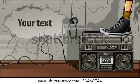 Boombox on the floor with text