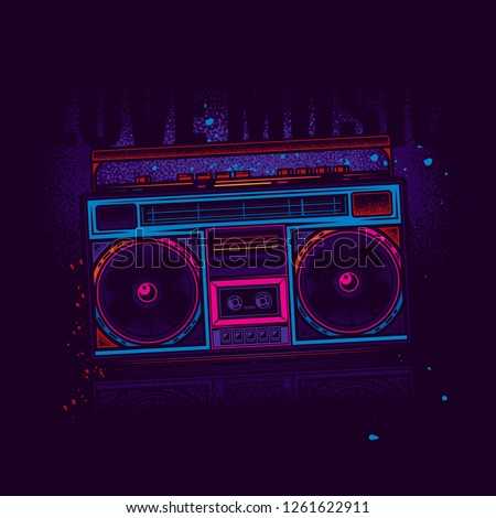 Boombox. Retro portable stereo radio cassette player. Original vector illustration in neon style.