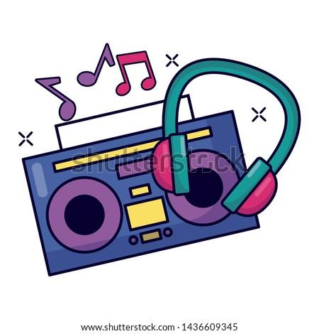 boombox stereo headphone notes music festival vector illustration