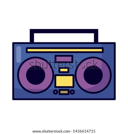boombox stereo music on white background vector illustration