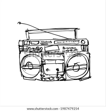 Boombox Stereo Portable Vintage Cassette Player Lasonic Free Hand Illustration Sketch Doodle Flat Vector  Stock photo ©