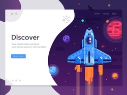 Boost business start up concept with rocket ship. Discovering new horizons and opportunities web banner with space shuttle in galaxy. New project or product launching illustration with spaceship.