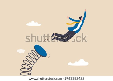 Boost up business growth, improvement, career path or job promote to higher position concept, confidence businessman leader jumping springboard up high in the sky.