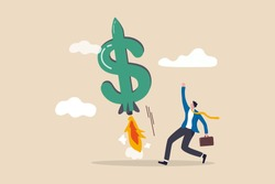 Boost your income, growth increasing business revenue or profit, rising investment earning concept, happy businessman company owner or investor with dollar money sign launch rocket booster high in sky