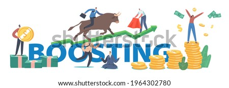 Boosting Concept. People Trading on Bull Stock Market. Brokers or Traders Characters Analyse Global Fond and Finance for Buying and Selling Bonds Poster, Banner, Flyer. Cartoon Vector Illustration Stock photo ©
