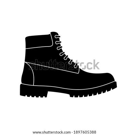 Boot icon. Hiking boots icon. Vector illustration. Black shoe symbol on white background. Foto stock ©