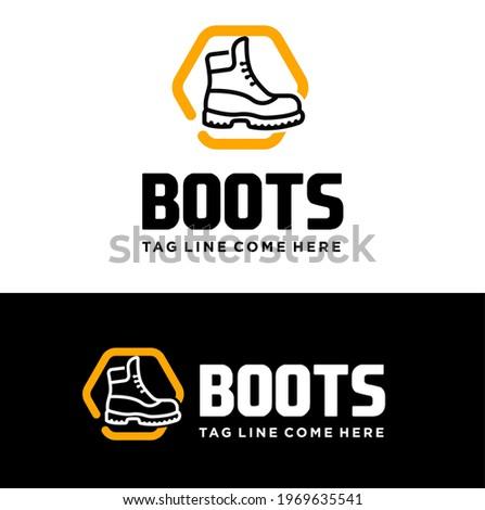 boots vector logo design or long shoes logo design illustration. Shoes icon. Boots shop logo design template. Long shoes vector logo.  Foto stock ©