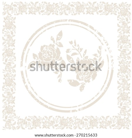 Watercolor hydrangea pattern vintage pink flowers shabby chic - Border And Roses Shabby Chic Stock Vector Illustration