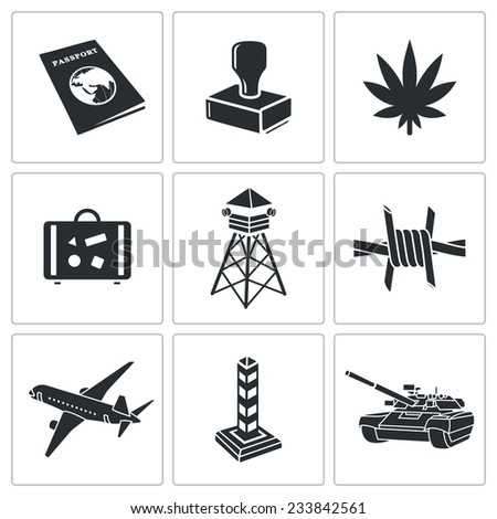 Border crossing Vector Isolated Flat Icons Set