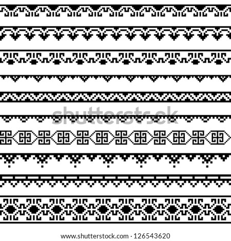 Border decoration elements patterns in black and white colors. Most popular ethnic border in one mega pack set collections . part 2. Vector illustrations. - stock vector