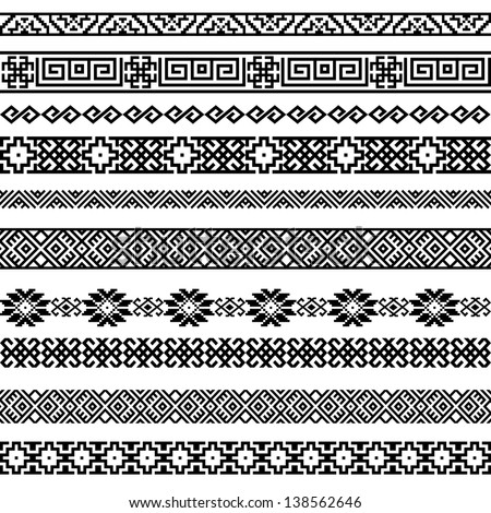 Border decoration elements patterns in black and white colors. Most popular ethnic border in one mega pack set collections 2. Vector illustrations.