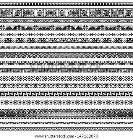 Border decoration elements patterns in black and white colors. Most popular ethnic border in one mega pack set collections. Vector illustrations.Could be used as divider, frame, etc