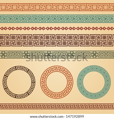 Border decoration elements patterns in different colors. Most popular ethnic border in one mega pack set collections. Vector illustrations. Could be used as divider, frame, etc