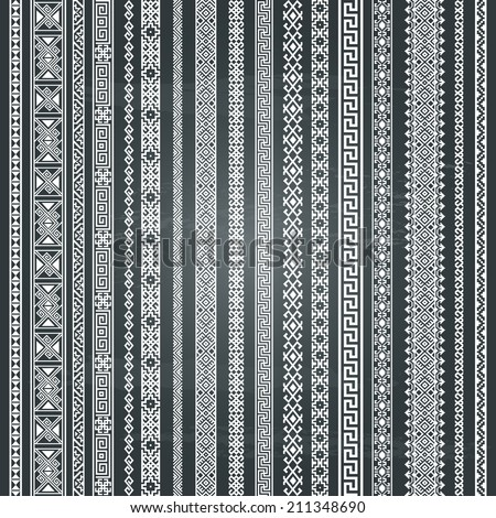 Border decoration elements patterns Most popular vertical ethnic border in one mega pack set collections Isolated on chalkboard background Vector illustrations Could be used as divider frame etc