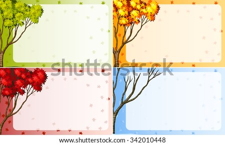 border design with tree in different season illustration - Shutterstock ID 342010448