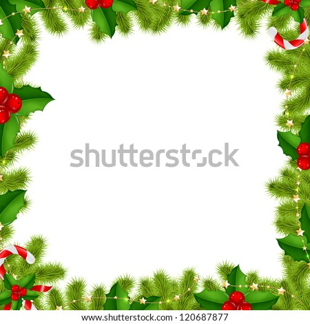 Border Fir-tree Branches With Gold Stars And Holly Berry Isolated On White Background With Gradient Mesh, Vector Illustration